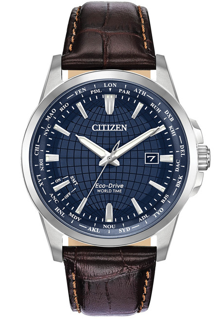 Citizen Eco-Drive Mens World Time Perpetual Blue Brown (BX1000-06L)