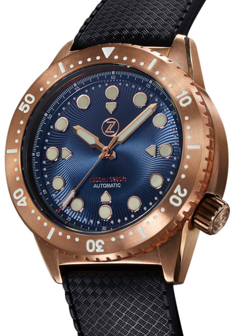 Zelos Great White Swiss Automatic 1000M Bronze Cobalt Blue (GW-BR-BL) front