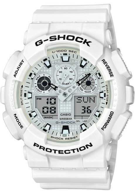 G-Shock GA100 Marine White (GA100MW-7A) front