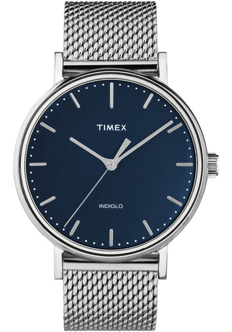 Timex Fairfield 41mm Navy Silver Mesh (TW2T37500)