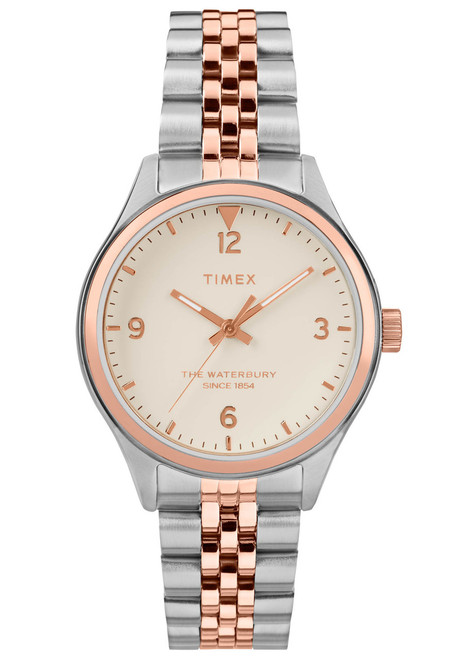 Timex Waterbury 34mm Rose Gold Silver SS (TW2T49200)