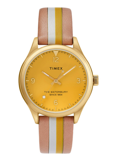 Timex Waterbury 34mm Yellow Tan Stripe (TW2T26600) front