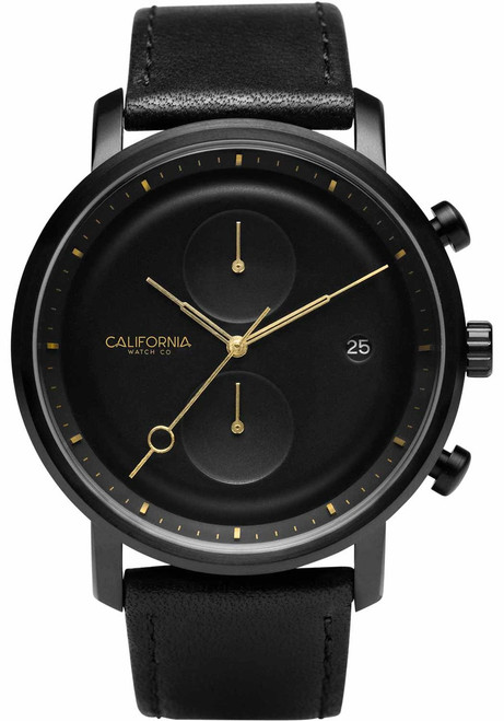 California Watch Co. Golden Gate Chrono Leather All Black Gold (GLG-3335-03L)