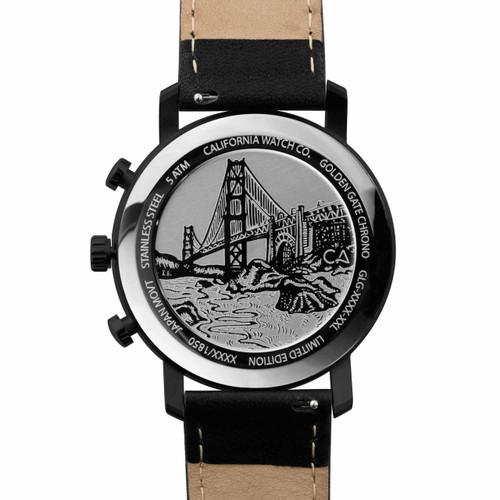 California Watch Co. Golden Gate Chrono Leather All Black Gold (GLG-3335-03L) bridge etched caseback