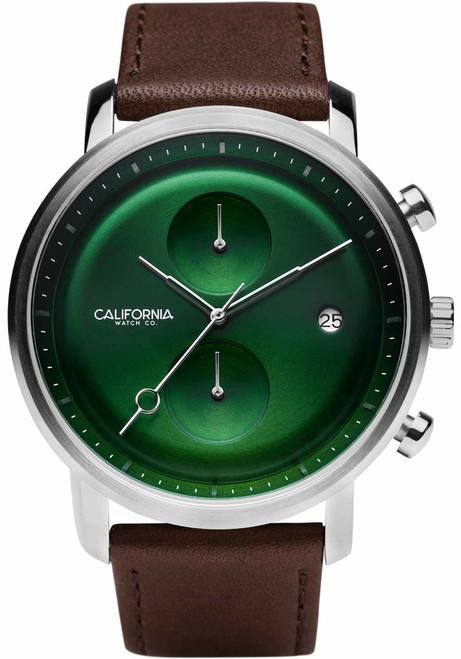 California Watch Co. Golden Gate Chrono Leather Dark Brown Green (GLG-1199-13L)