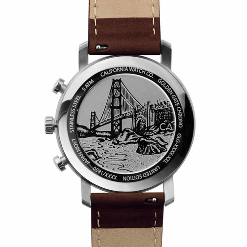 California Watch Co. Golden Gate Chrono Leather Dark Brown Green (GLG-1199-13L) etched caseback bridge