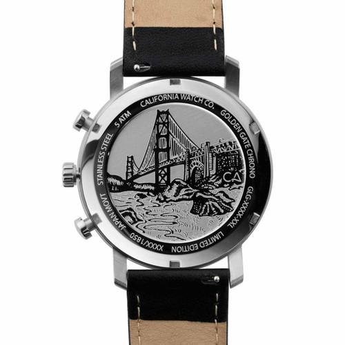 California Watch Co. Golden Gate Chrono Leather Silver Black (GLG-1131-03L) bridge etched caseback