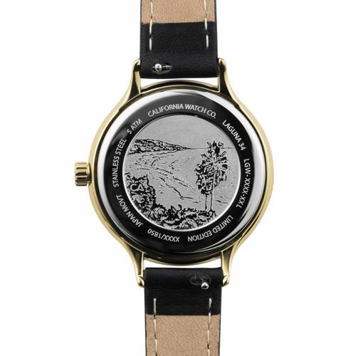 California Watch Co. Laguna 34 Leather Black Gold (LGW-5555-03L) etched caseback beach