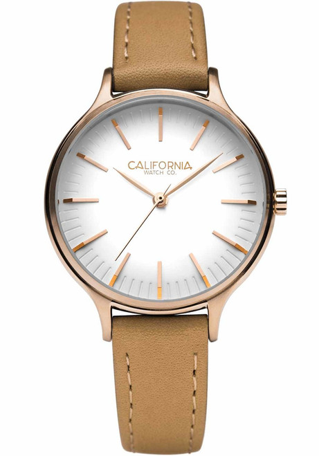 California Watch Co. Laguna 34 Leather Natural Rose Gold (LGW-4404-20L)
