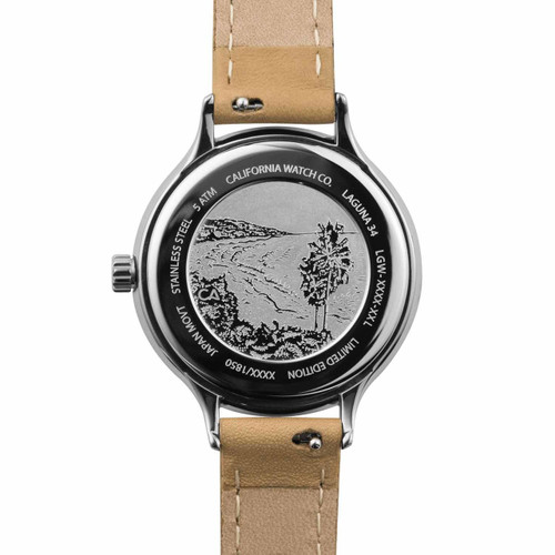 California Watch Co. Laguna 34 Leather Natural White (LGW-1101-20L)  etched caseback beach