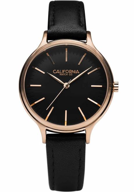 California Watch Co. Laguna 34 Leather Rose Gold Black (LGW-4434-03L)
