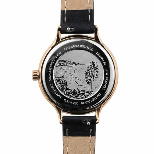 California Watch Co. Laguna 34 Leather Rose Gold Black (LGW-4434-03L) etched caseback beach