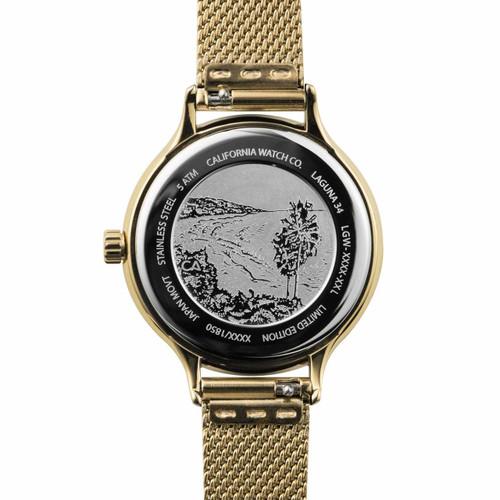 California Watch Co. Laguna 34 Mesh All Gold (LGW-5555-05M) etched caseback beach