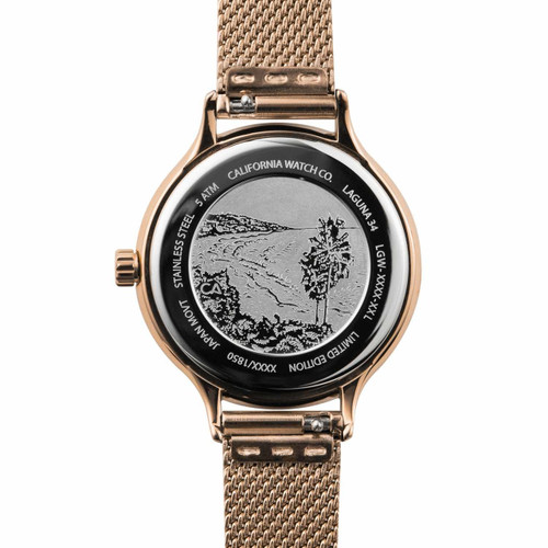 California Watch Co. Laguna 34 Mesh Rose Gold White (LGW-4404-04M) etched caseback beach