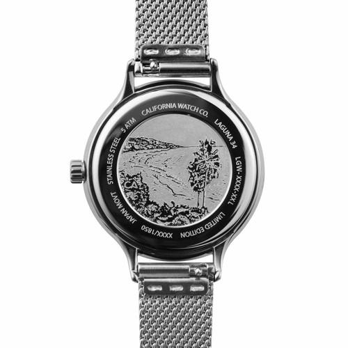 California Watch Co. Laguna 34 Mesh Silver White (LGW-1101-01M) etched caseback beach