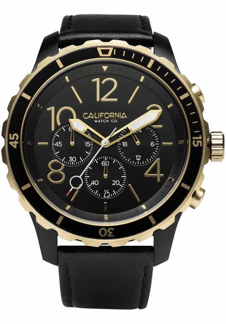 California Watch Co. Mavericks Chrono Leather All Black Gold (MVK-3535-03L) front