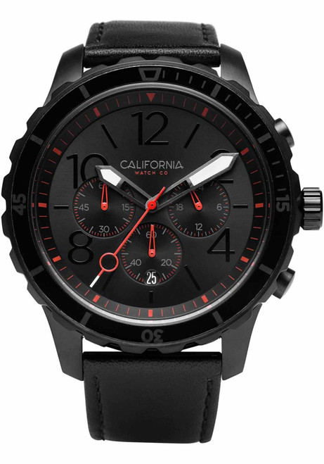 California Watch Co. Mavericks Chrono Leather All Black Red (MVK-3338-03L) front