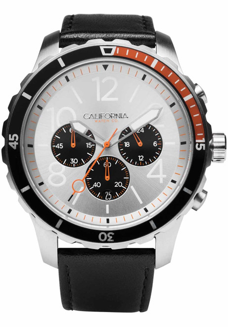 California Watch Co. Mavericks Chrono Leather Black Silver Orange (MVK-1119-03L) front