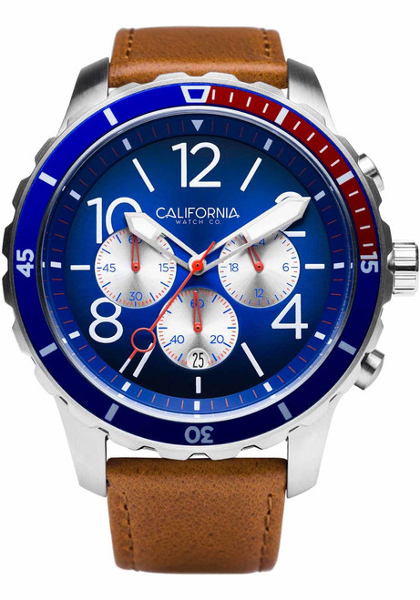 California Watch Co. Mavericks Chrono Leather Brown Navy Red (MVK-1178-21L) front