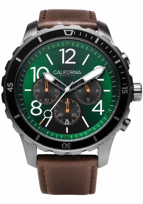 California Watch Co. Mavericks Chrono Leather Dark Brown Green (MVK-2239-13L) front