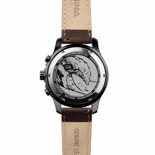 California Watch Co. Mavericks Chrono Leather Dark Brown Green (MVK-2239-13L) case back etching surf wave