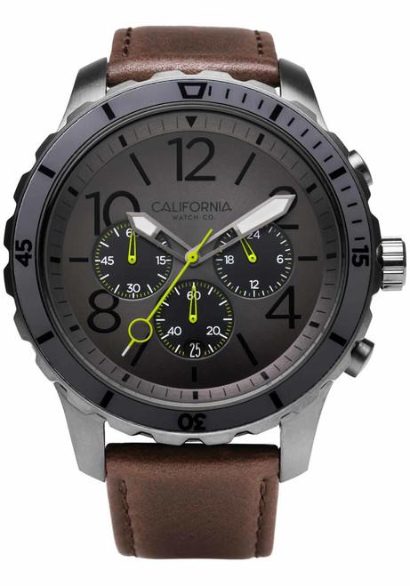 California Watch Co. Mavericks Chrono Leather Gunmetal Brown (MVK-2223-13L) front