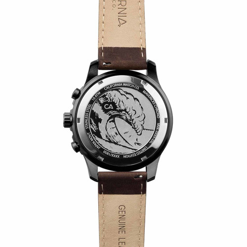 California Watch Co. Mavericks Chrono Leather Gunmetal Brown case back etching surf wave
