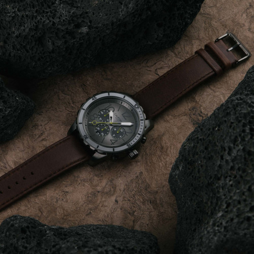California Watch Co. Mavericks Chrono Leather Gunmetal Brown (MVK-2223-13L)