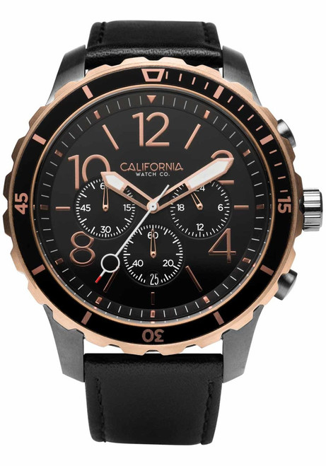 California Watch Co. Mavericks Chrono Leather Gunmetal Rose Gold (MVK-2434-03L) front