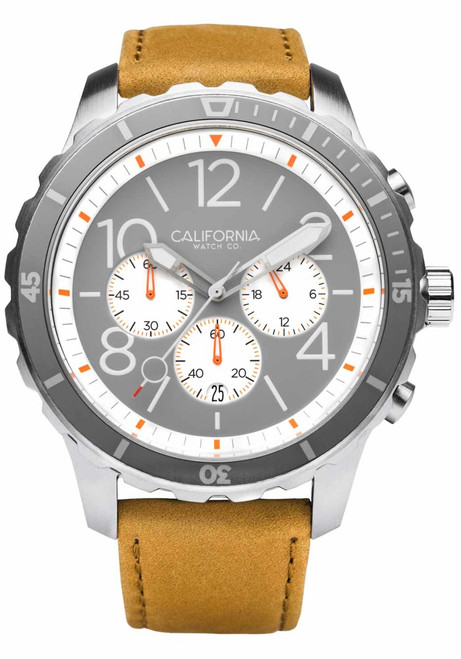 California Watch Co. Mavericks Chrono Leather Sand Gray White (MVK-1110-12L) front