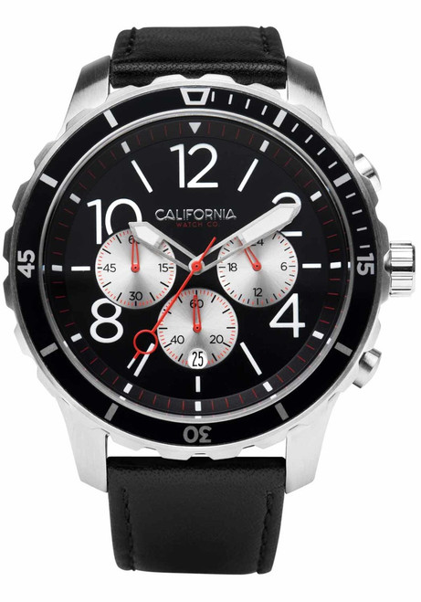California Watch Co. Mavericks Chrono Leather Silver Black (MVK-1131-03L) front