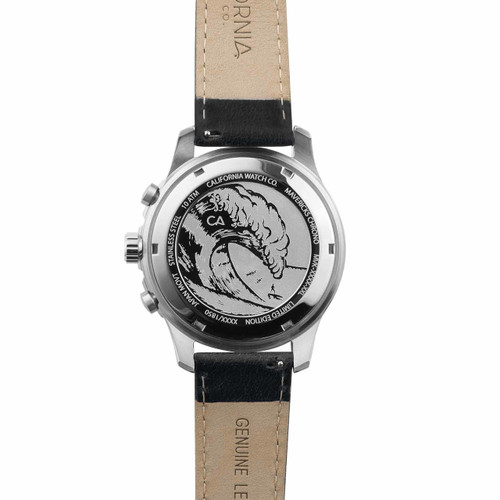 California Watch Co. Mavericks Chrono Leather Silver Black (MVK-1131-03L) case back etching surf wave