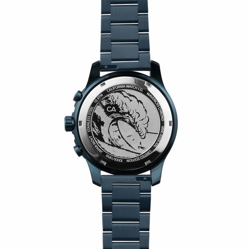 California Watch Co. Mavericks Chrono SS Deep Blue (MVK-7772-07B) case back etching surf wave