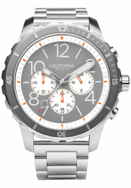 California Watch Co. Mavericks Chrono SS Gray White (MVK-1110-01B) front