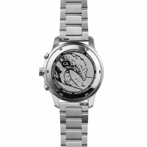 California Watch Co. Mavericks Chrono SS Gray White (MVK-1110-01B) case back etching surf wave