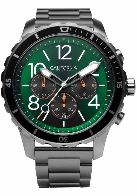 California Watch Co. Mavericks Chrono SS Gunmetal Green (MVK-2239-02B) front