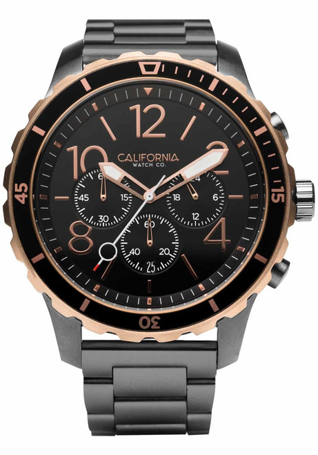 California Watch Co. Mavericks Chrono SS Gunmetal Rose Gold (MVK-2434-02B) front