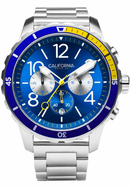 California Watch Co. Mavericks Chrono SS Navy Yellow (MVK-1179-01B) front