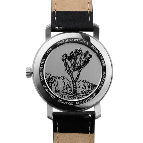 California Watch Co. Mojave Leather Black Silver (MJV-1111-03L) caseback etched joshua tree