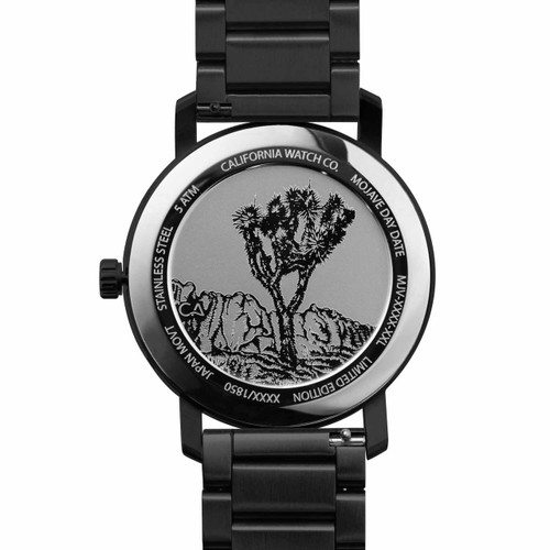 California Watch Co. Mojave SS All Black Gold (MJV-3335-03B) caseback etched joshua tree