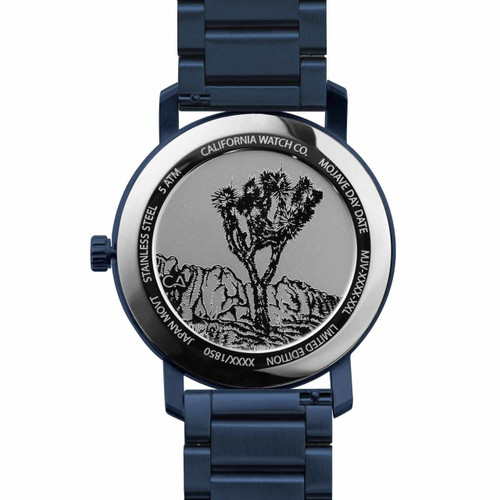 California Watch Co. Mojave SS Deep Blue (MJV-7772-07B) caseback etched joshua tree