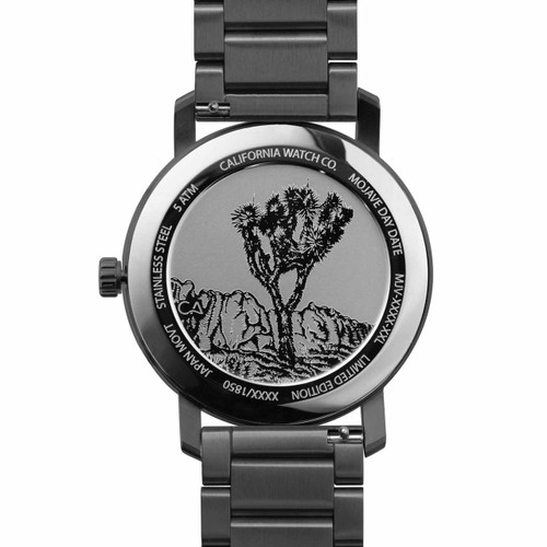 California Watch Co. Mojave SS Gunmetal Green (MJV-2299-02B) caseback etched joshua tree