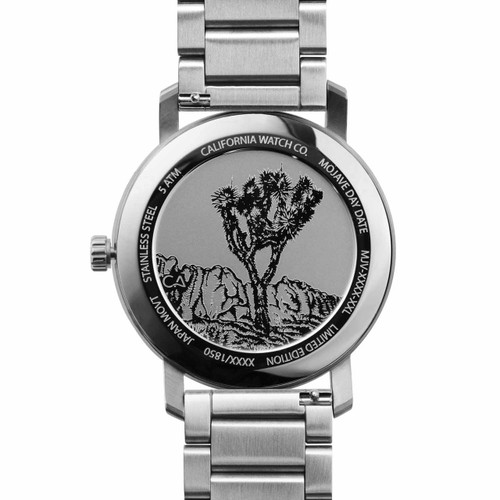 California Watch Co. Mojave SS Silver Black Smoke (MJV-1139-01B) caseback etched joshua tree