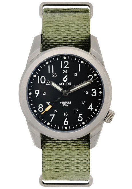 Boldr Venture Jungle Green (BD-VEN-JG) titanium field watch front