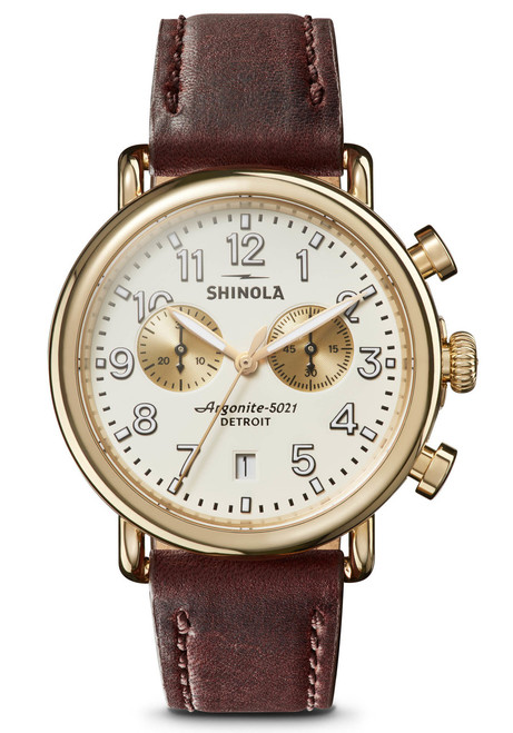 Shinola Runwell 41mm Chrono Ivory Brown (S0120141502) front