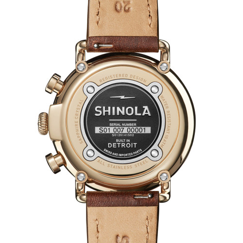 Shinola Runwell 41mm Chrono Ivory Brown (S0120141502) back
