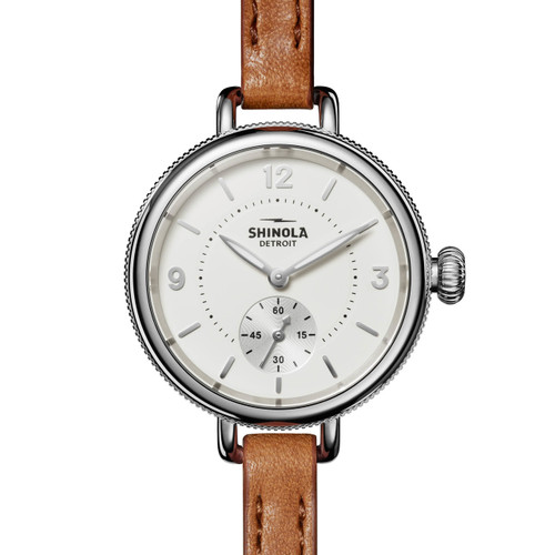 Shinola 34mm Birdy Double Wrap White Brown (S0120141496) front