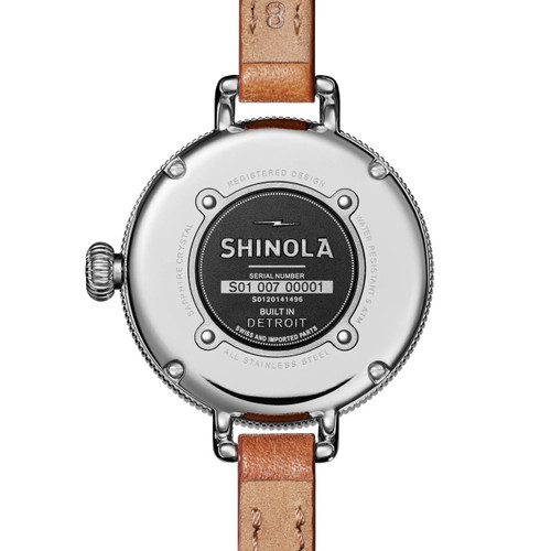 Shinola 34mm Birdy Double Wrap White Brown (S0120141496) back