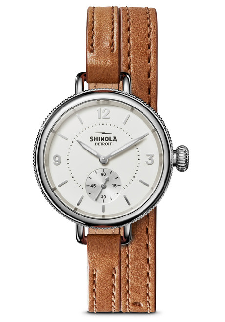 Shinola 34mm Birdy Double Wrap White Brown (S0120141496)