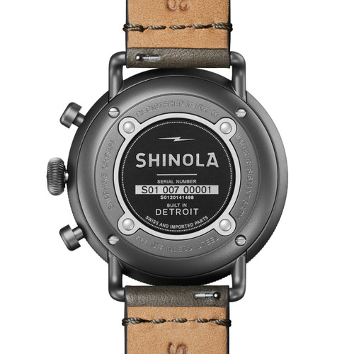 Shinola Canfield Chrono 43mm Gunmetal Black (S0120141498) back